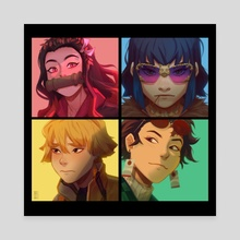 Demon Slayer x Humanz  - Canvas by Alane Grace