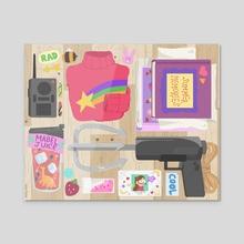 What's in Mabel's bag? - Gravity Falls - Acrylic by Marya Vidal