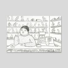 I Hate My Job - 47 year old virgin - Acrylic by Maureen Kuo