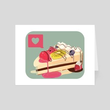 Berry Heart Cake - Art Card by Chelsea Dostert