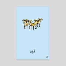 U) Herd of Urials - Canvas by Mal Jones