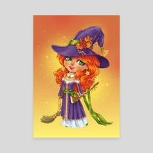 Halloween Witch Chibi - Canvas by Maria Dimova