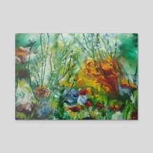 Red Flower's Detail in Vibrant Colors and Shades Environment - Acrylic by Livia Burchianti