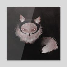 Ninja Cat - Acrylic by Carlota Alarcon