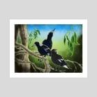Magpie Family - Art Print by David Murphy
