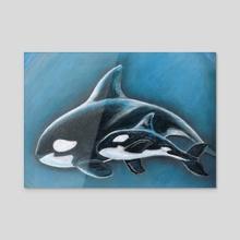 Wild Orcas - Acrylic by Krystobelle