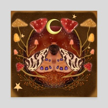 Tiger Moth and Mushrooms  - Canvas by Sara Di Lella