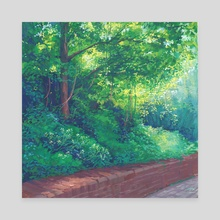 Greens over a brick wall - Canvas by Maddy