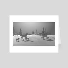 Winter Deer with Fawns - Art Card by Sara Tarr