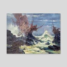 Weathering a Storm on the Napsidian Coast - Acrylic by Jordan K Walker