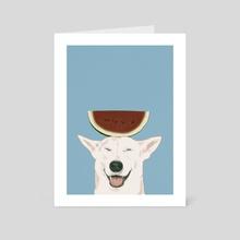 Watermelon doggie smile - Art Card by Ferran Sirvent
