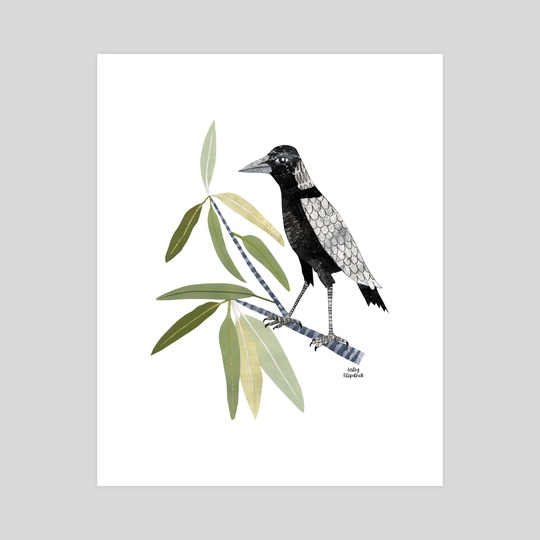 Magpie In A Gum Tree by Lesley Fitzpatrick