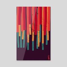 Squared Stripes (original colors) - Acrylic by Michele Ficeli