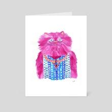 Pink Fashion Cat - Art Card by Lisa Hanawalt