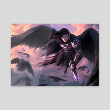 Champion of the Raven Queen - Acrylic by Marcela Medeiros