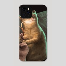 Distinctly Crooked Cat 2: Incandescent blade of grass - Phone Case by Ciucinciu Tiberius