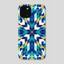 Triangles blue abstract tribal pattern - Phone Case by Mihalis Athanasopoulos