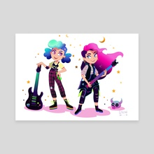 Two girls play rock guitars - Canvas by Lorini Art