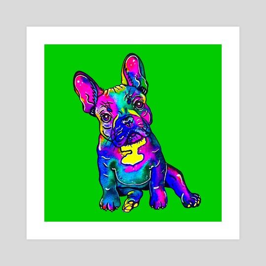 Colorful French Bulldog on Green by Zaira Dzhaubaeva