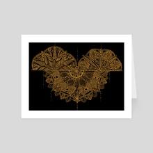 Golden Mandala on Black - Art Card by Sebastian Grafmann