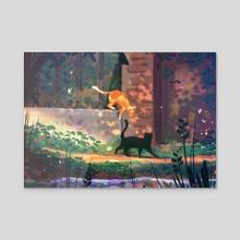 Cats promenade - Acrylic by Rouche Ben