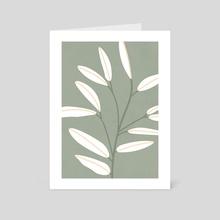 Mid Century Modern Artwork, Plant Leaves, Sage Green 1 - Art Card by Ariani Anwar