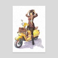 Yellow Vespa - Canvas by Tamasaburo