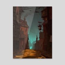 Spooky town - Acrylic by Henri Kutvonen