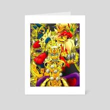 Mewtwo Lucario Blaziken Gold Saints - Art Card by Victor Ku