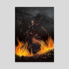 Fire Necromancer - Canvas by Shaun Kelly