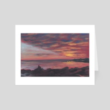 The sun is setting at Concarneau - Art Card by M. Broca