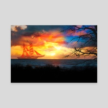 Fiery Sunset - Canvas by Jasmina Seidl