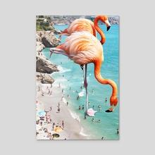 Flamingos on the Beach - Acrylic by 83 Oranges