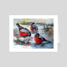 Bullfinches - Art Card by Emilia Karelina