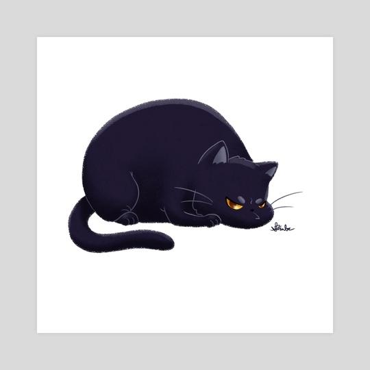 Fat Grumpy Cat - Black by Sara Kuba