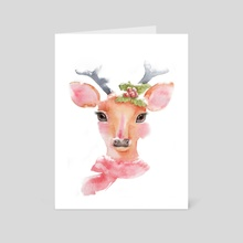 Watercolor-Cute deer with long eyelashes in the snow - Art Card by Acharaporn Kamornboonyarush
