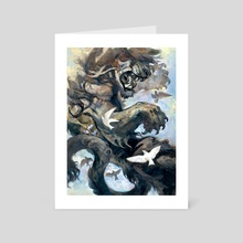 Lion&birds - Art Card by yukari masuike