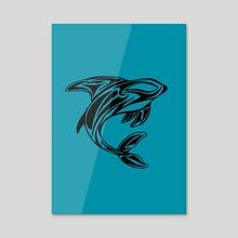 Orca Whale Tattoo Turquoise - Acrylic by Sebastian Grafmann