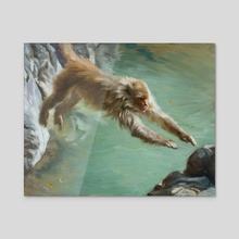 The Leap - Monkey from Rishikesh India - Acrylic by Pavel Sokov