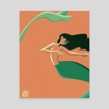Orange mermaid - Canvas by Jamila Mehio