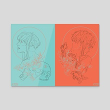 Blue & Orange - Acrylic by Xavier  Jones