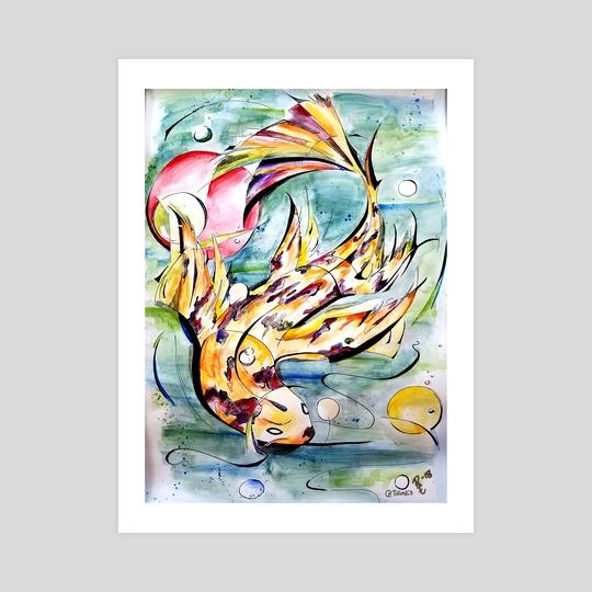 Fish is Koi, Please Enjoy - Yellow by Rachel Creemers