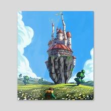 Castle in the sky  - Acrylic by Hugo Barret Castan
