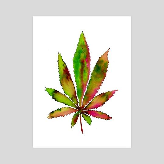 Watercolor Weed Leaf by Sebastian Grafmann