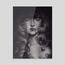 Black Butterfly - Acrylic by Maria Dimova