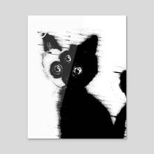 three eyes nine lives - Acrylic by Steven Vs Nothingness