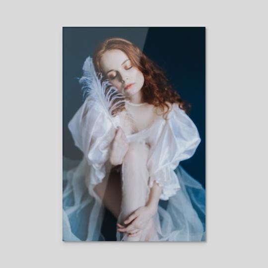Photo of a girl in a white dress on a blue background 5 by Kseniya Lokotko