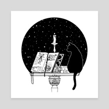 The Cat and the Candle - Canvas by Feroniae
