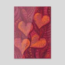 Hearty Flowers - Acrylic by Julia Khoroshikh