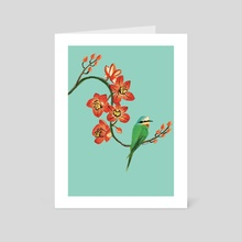 the orchid and the bird - Art Card by Emma Lewis